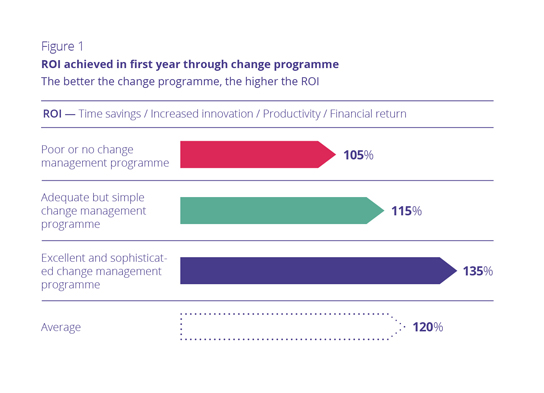 Figure 1 ROI achieved in first year through change programme