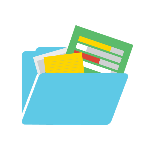 Illustration of a folder containing documents