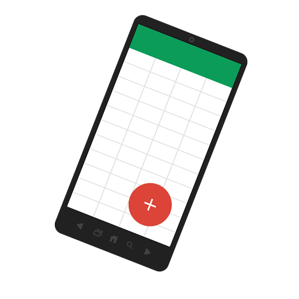 Illustration of Google sheets on a mobile device