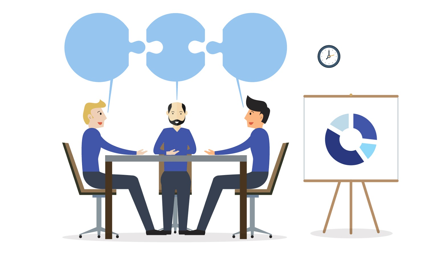 HBR Illustration of 3 men sitting at a meeting table with puzzle pieces above their heads
