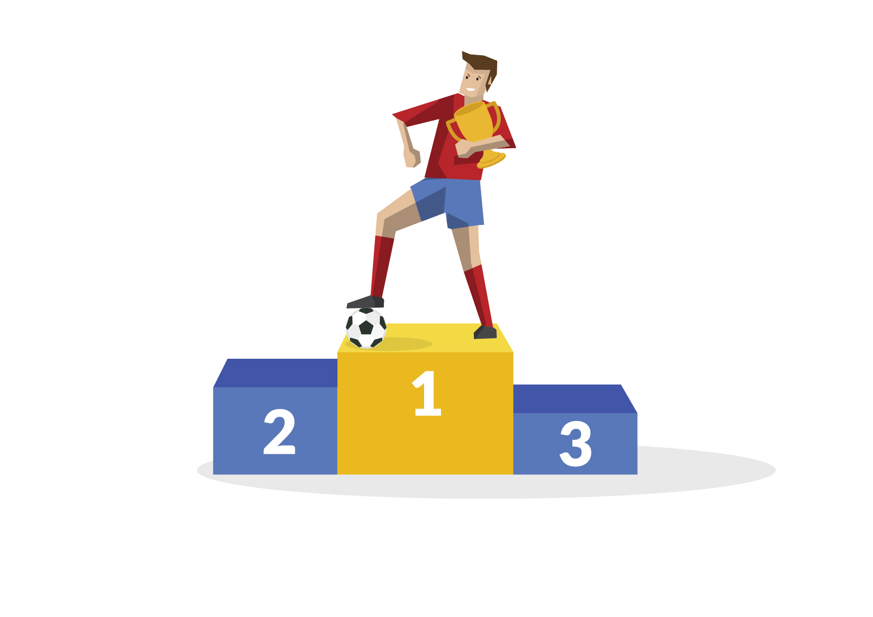 HBR Illustration of a soccer player holding a trophy standing in first place