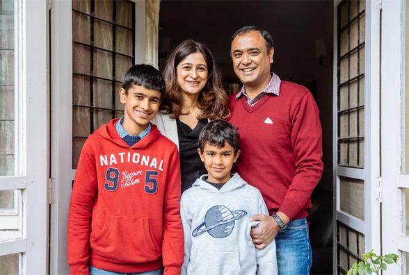 Mohit Pande, Country Manager of Google Enterprise India with his wife and two sons